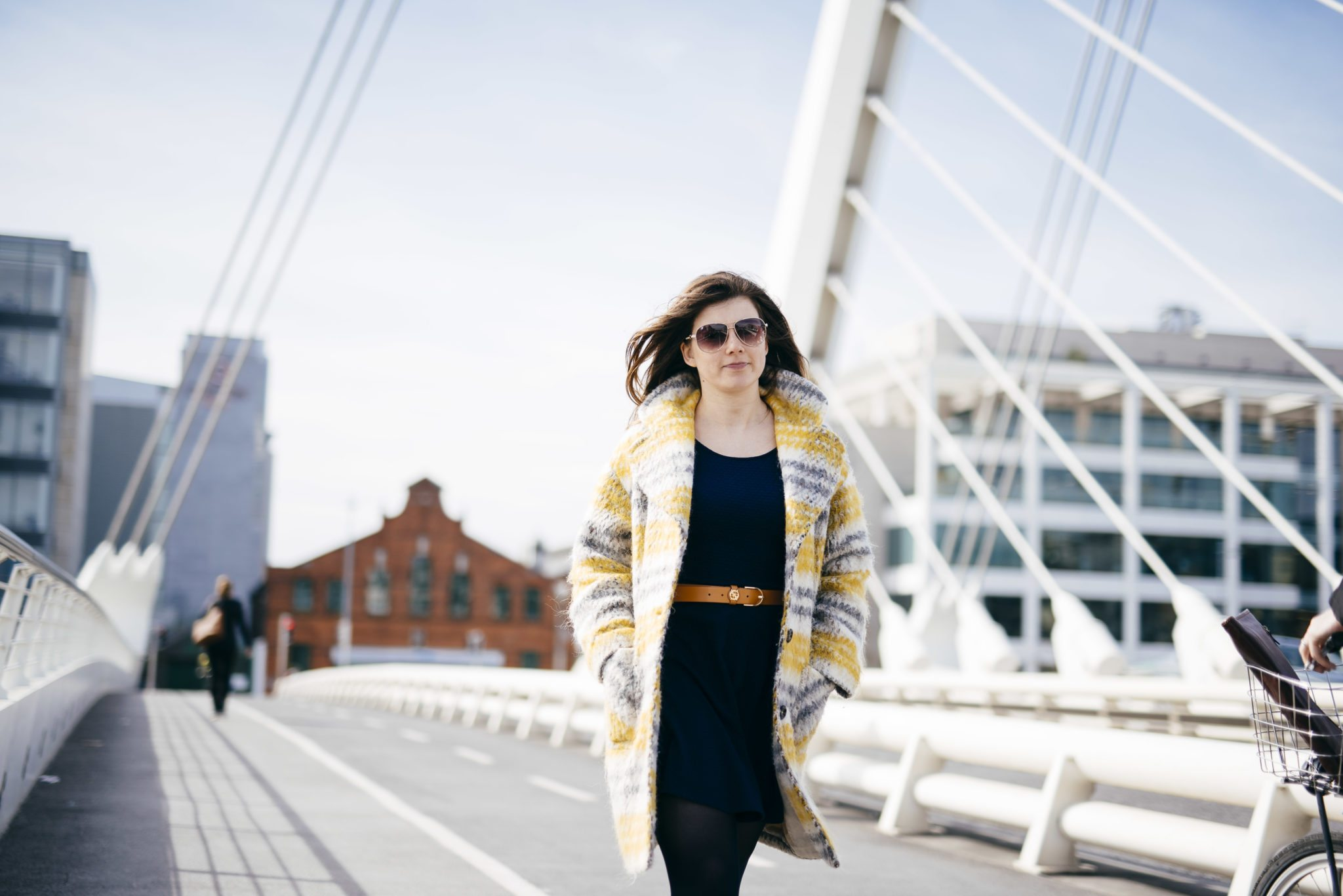 Maja walking on Samuel Beckett bridge